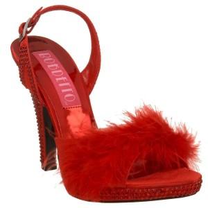 Sandales d'intérieur rouges à talon haut