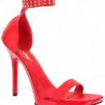 Sandale en satin rouge